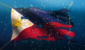 Philippines Under Water Sea Flag National Torn Bubble 3D