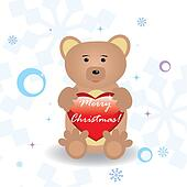 Cute little bear with heart for your christmas design