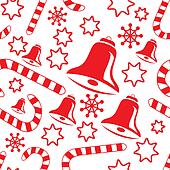 Seamless pattern with hand bells, candy canes, snowflakes and stars. Vector illustration.