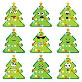 Cartoon christmas trees set with different emotions