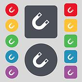 magnet, horseshoe icon sign. A set of 12 colored buttons. Flat design.