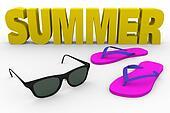 summer flip flop and glasses