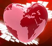 Heart Globe Means Valentine's Day And Earth