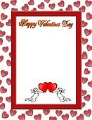 Valentines day border with 3D text