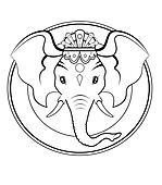 Ganesh logo - BW