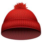 Knitted woolen cap. Winter seasonal red hat.