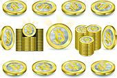 Set of One Bitcoins Isolated on White