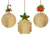 Xmas Labels Set With Holly Berry And Poinsettia
