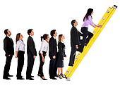 Business group climbing a ladder