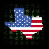 Texas map flag on dollar symbols illustration