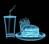Fast food burger x-ray blue transparent isolated on black
