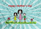 Happy mothers day card with family cartoons in illustration on w