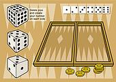 Backgammon with dices vector