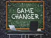 Chalkboard on the Office Wall with Game Changer Concept.