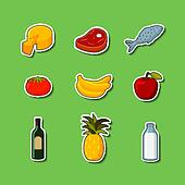 Supermarket foods items on stickers