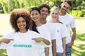 Environmentalist showing volunteer tshirt