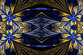 Symmetrical flower pattern in stained-glass window style on blac
