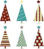 Blue – red christmas tree icon set