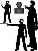 Silhouette man shoots target pistol