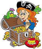 Pirate woman opening treasure chest