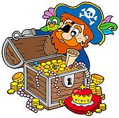 Pirate opening treasure chest