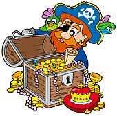 Pirate opening treasure chest