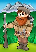 Cartoon trapper with mountains