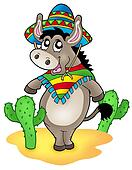 Mexican donkey with cactuses