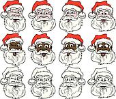 12 Santa Faces