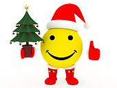 Happy face in Santa\'s costume