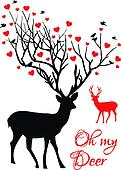 Deer couple with red hearts, vector