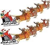 santa sleigh reindeer