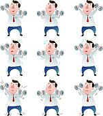 fat Businessman with dumbbells