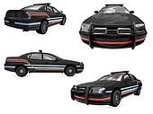 Collage of isolated black police car