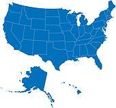 USA 50 States Blue Color
