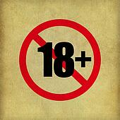 18+ Sign on beige paper texture background