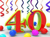 Number Forty Party Shows Fortieth Birthday Party Or Celebration