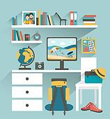 Office workplace with computer and book shelves. Traveller office.Flat design vector illustration.
