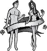 Adam and eve tattoo style vector illustration