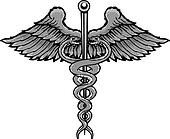 Caduceus the symbol of healing tattoo style vector illustration