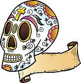 Festival Skull tattoo style illustration