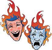 Flaming happy and sad theatre masks illustration
