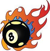 Flaming Eightball vector illustration