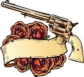 Guns and roses with banner illustration