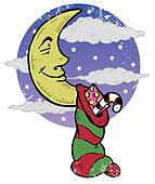 Sleeping moon and Christmas eve night illustration