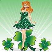 St Patricks Day pin up with clover vector illustration