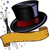 Magic theme top hat and banner vector illustration