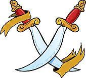 Twin daggers tattoo style vector illustration