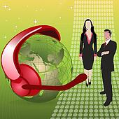 globe with headset, microphone, business people