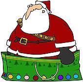 Santa Claus in a gift bag